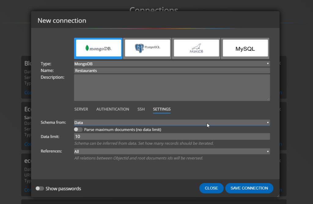 Settings for connection to MongoDB Atlas