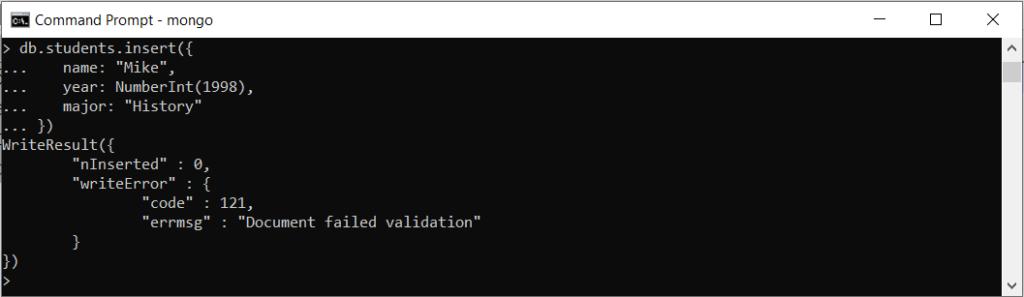 Validation of MongoDB records.