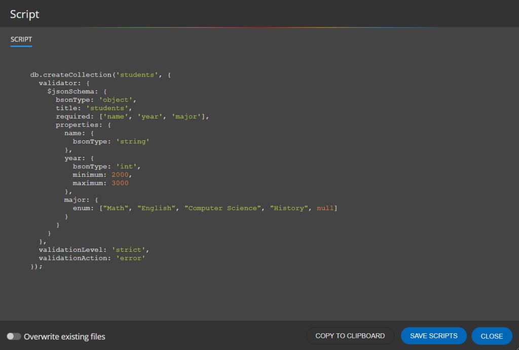 Generated MongoDB schema validation script