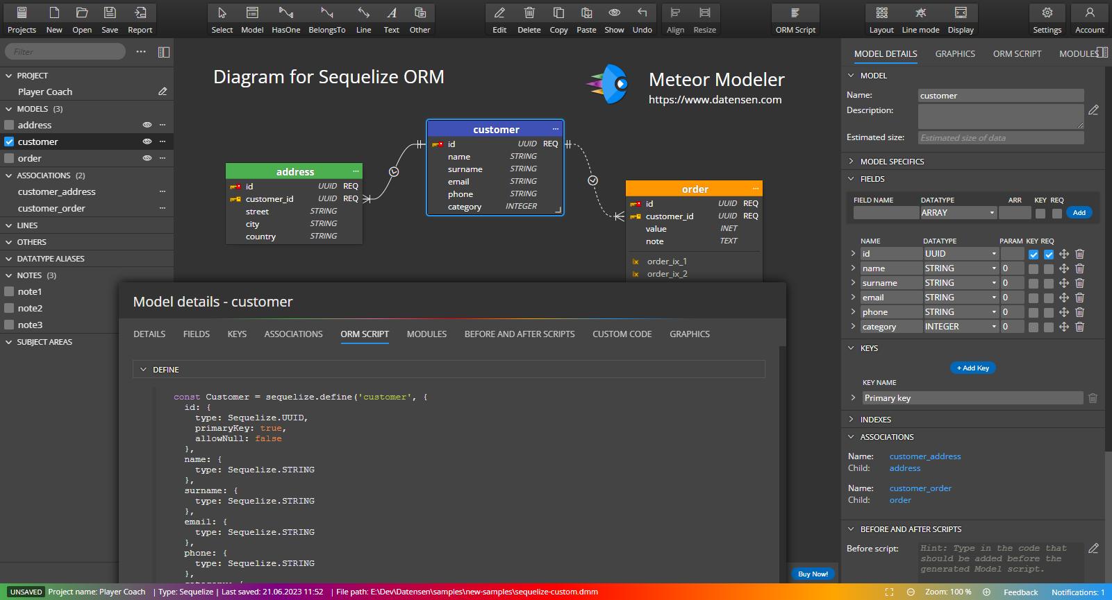 Free database modeling tool