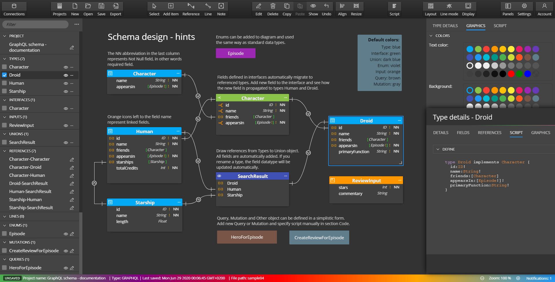 GraphQL schema diagram - visual design
