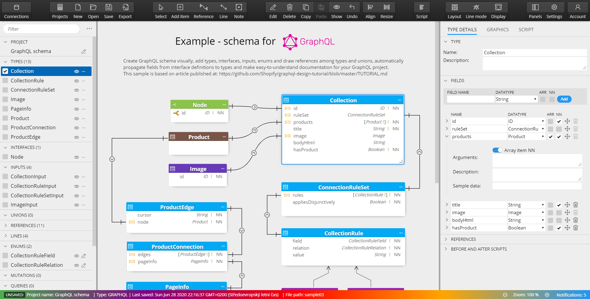 graphql schema design - modeling tool