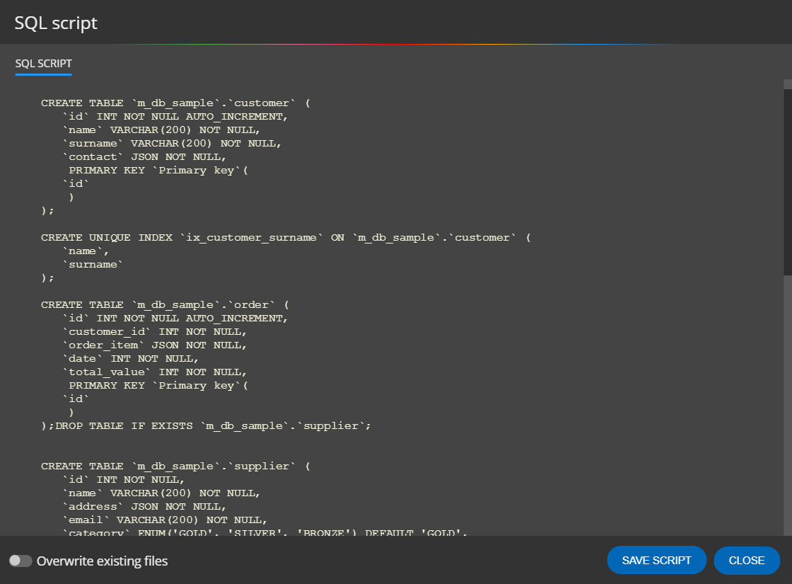 SQL script for MariaDB