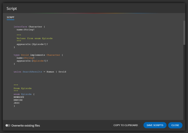 graphql schema script