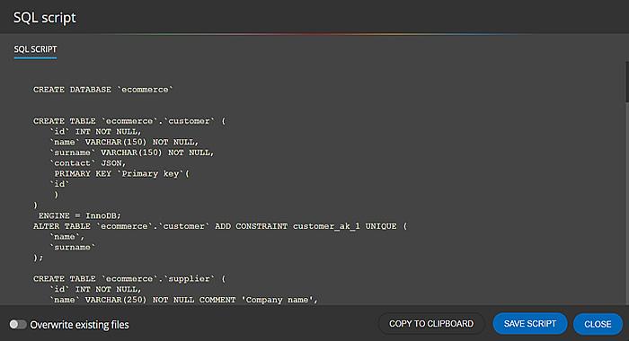 Generated SQL script