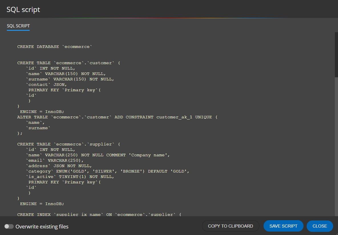 MySQL DDL script