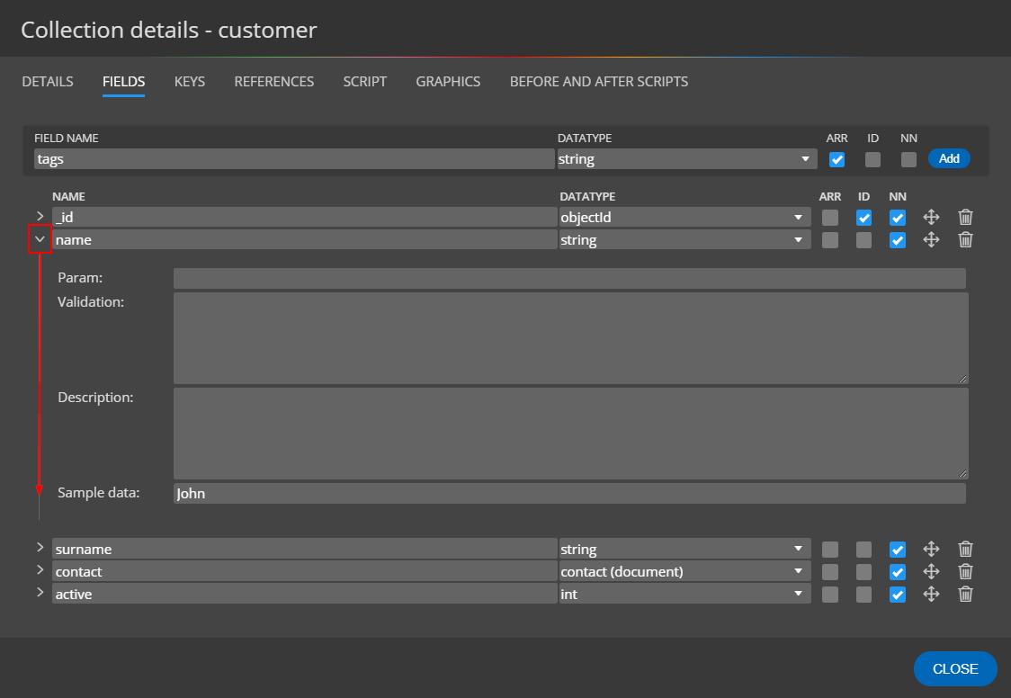 MongoDB schema design - field details