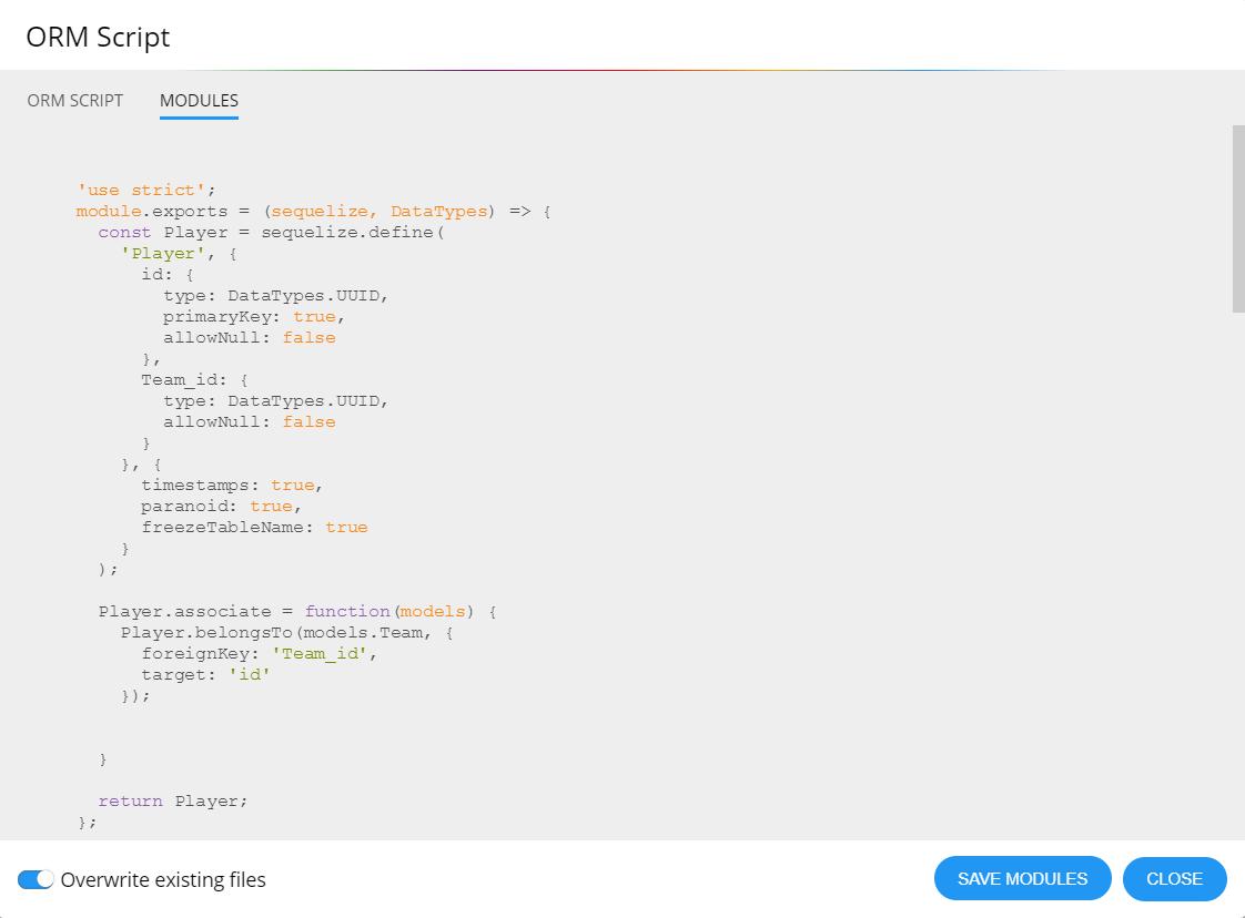 generated sequelize module scripts