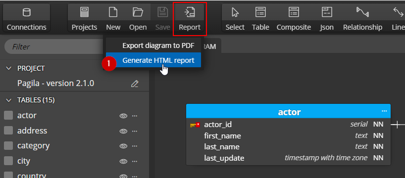 Database reporting - export to HTML