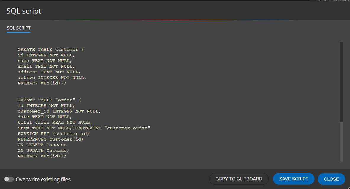 SQL script for SQLite