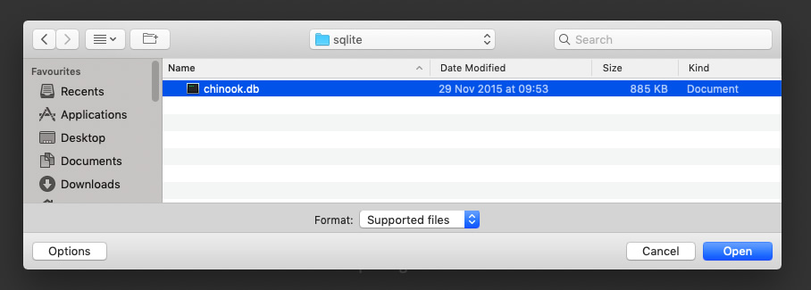Import file - selection